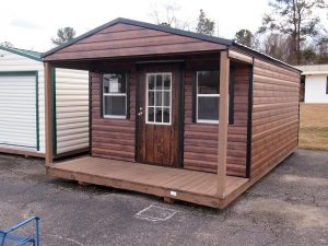 cedar brown porch storage building